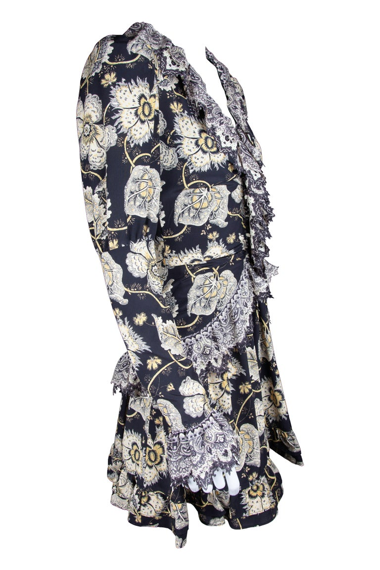 Etro Runway Long Sleeve Ruffle Black Floral Dress Size 42 In New Condition For Sale In Paradise Island, BS