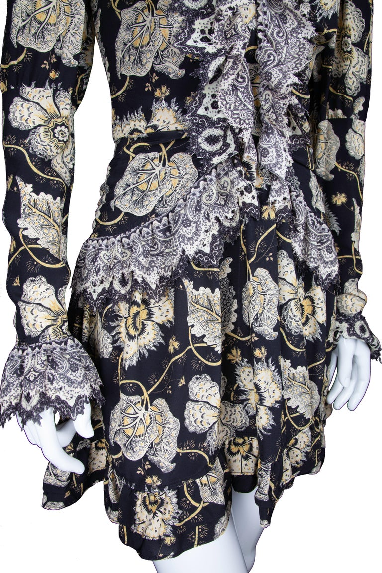 Etro Runway Long Sleeve Ruffle Black Floral Dress Size 42 For Sale 1