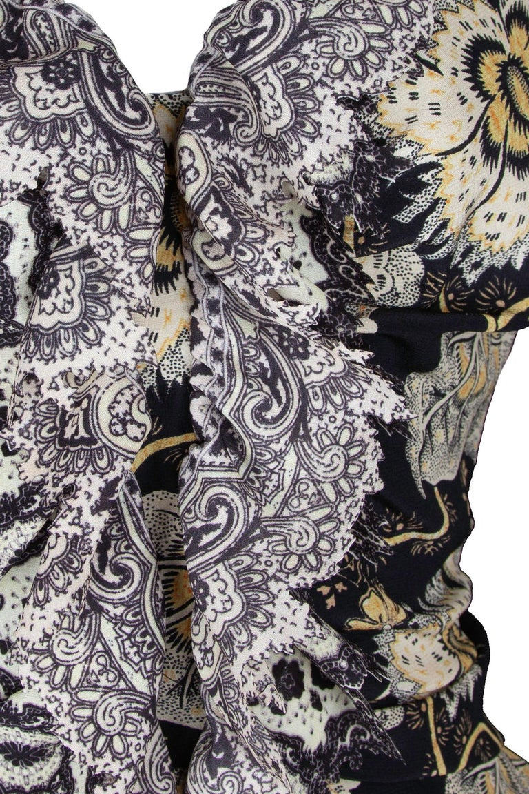 Etro Runway Long Sleeve Ruffle Black Floral Dress Size 42 For Sale 2