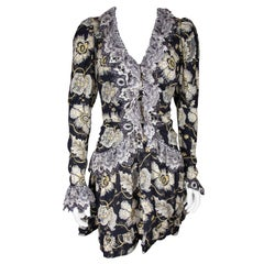 Etro Runway Long Sleeve Ruffle Black Floral Dress Size 42
