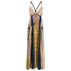 Etro Runway Paisley Silk Backless Flowy Maxi Dress Size 40
