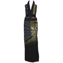 ETRO Runway Printed Side Cutout Open Back Halter Style Dress Gown It 42 - US 6