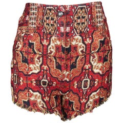 Etro Runway Red and Black Woven Jacquard Dress Shorts Size 26