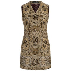 Etro Runway Sleeveless Black & Beige Jacquard Button Down Minidress/Vest Size 40