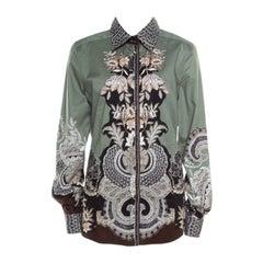 Etro Sage Green Floral Placement Print Button Front Shirt L