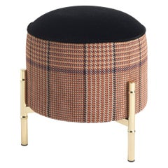 Etro Samarcanda Pouf in Houndstooth Print and Brass