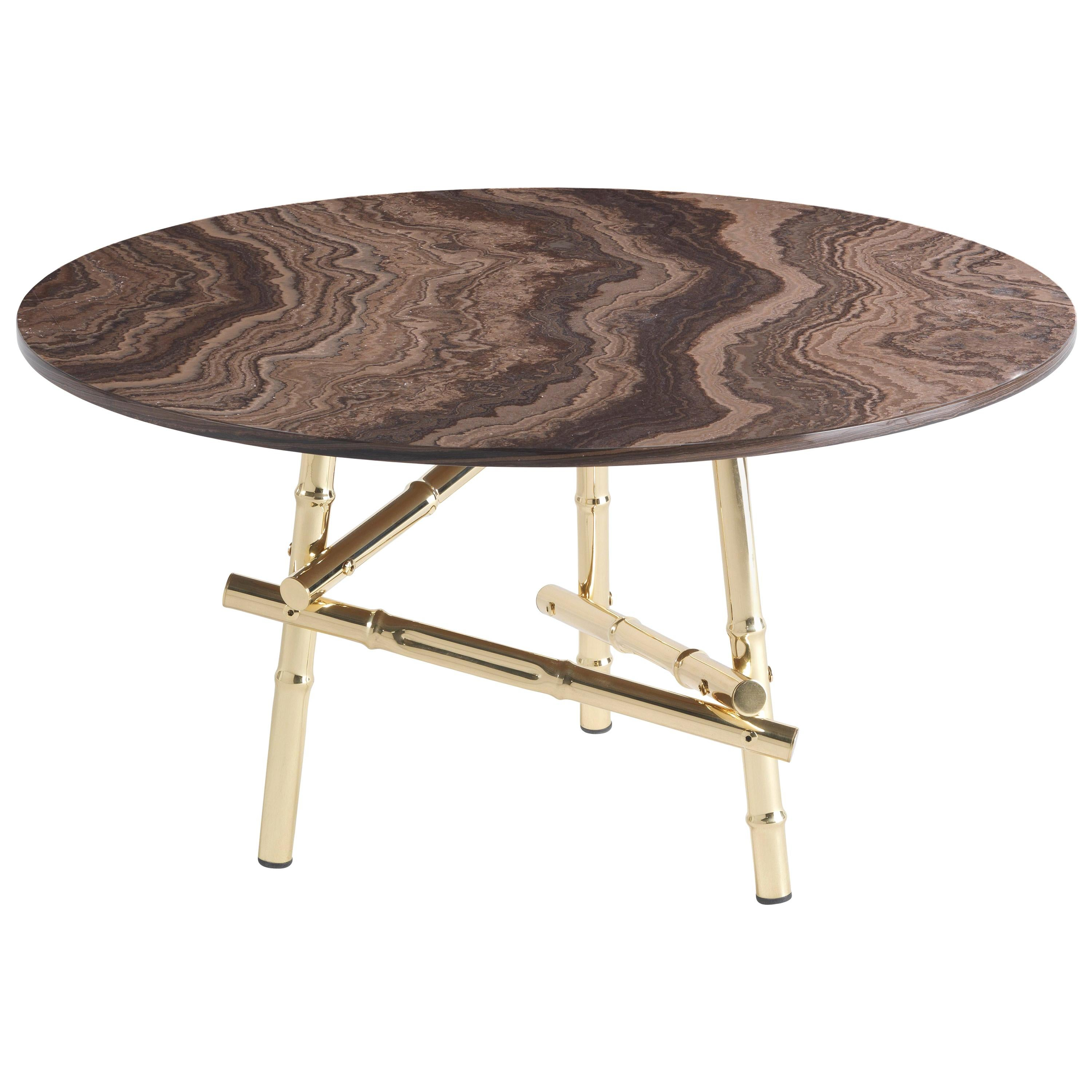 Etro Home Interiors Samarcanda Small Table in Brass and Marble Top