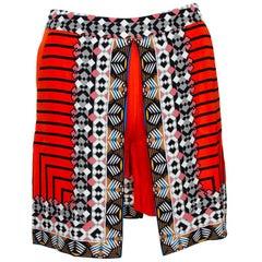 Etro Scarlet Orange Silk Crepe Tribal Print Mini Skort S