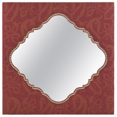 Etro Shanti Natural Mirror in Wood and Red Paisley Fabric