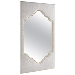 Etro Shanti Natural Mirror in Wood and White Paisley Fabric