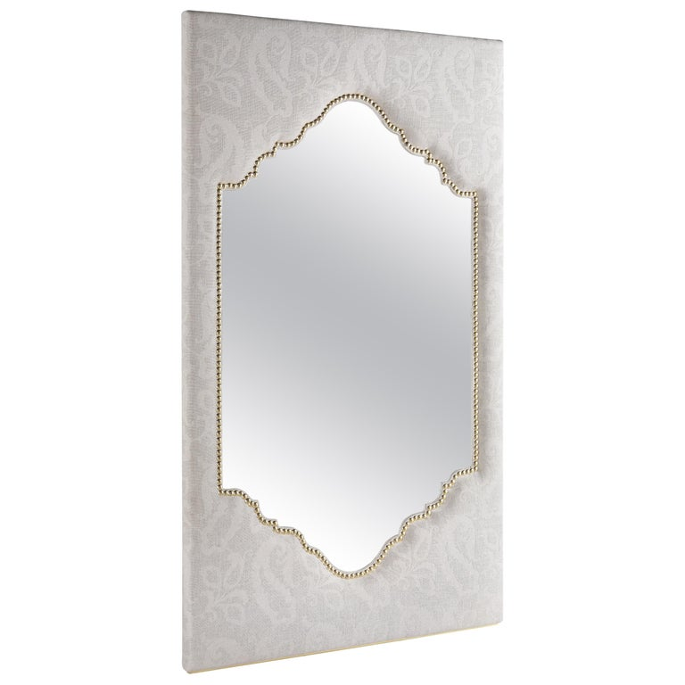 Etro Shanti Natural Mirror in Wood and White Paisley Fabric For Sale