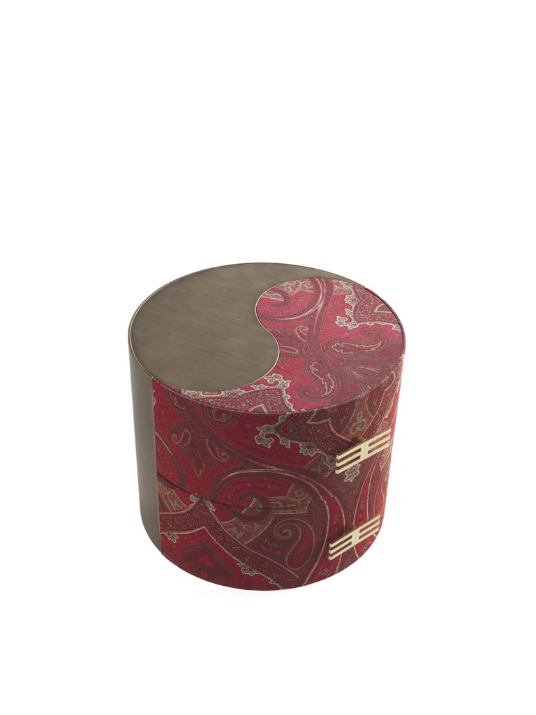 Modern Etro Sharp Night Table in Wood and Fabric For Sale