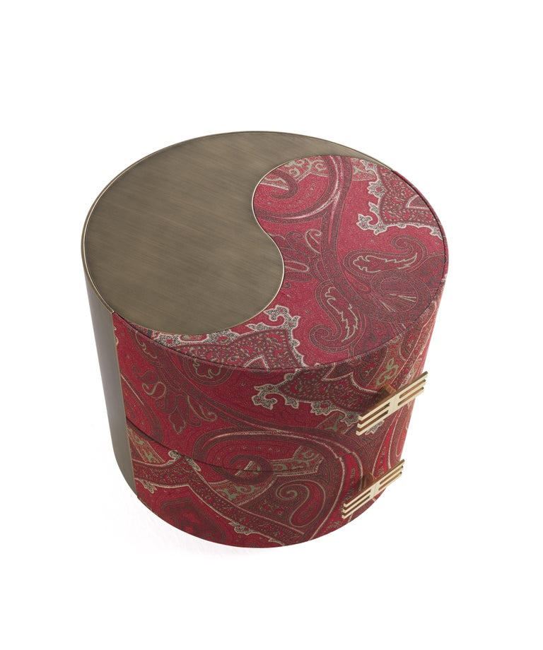 Italian Etro Sharp Night Table in Wood and Fabric For Sale
