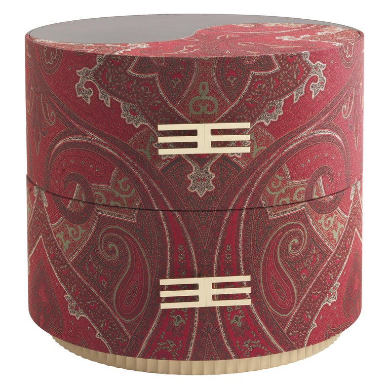 Etro Sharp Night Table in Wood and Fabric For Sale