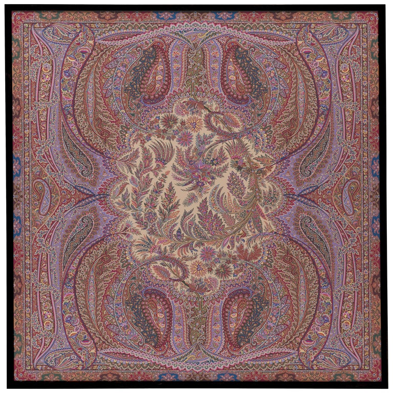 """Etro Home Interiors Shawl """"E"""" Print on Canvas with Frame in Wood For Sale"""