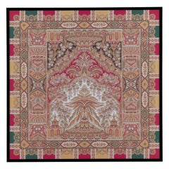 "Etro Home Interiors Shawl ""O"" Print on Canvas with Frame in Wood"