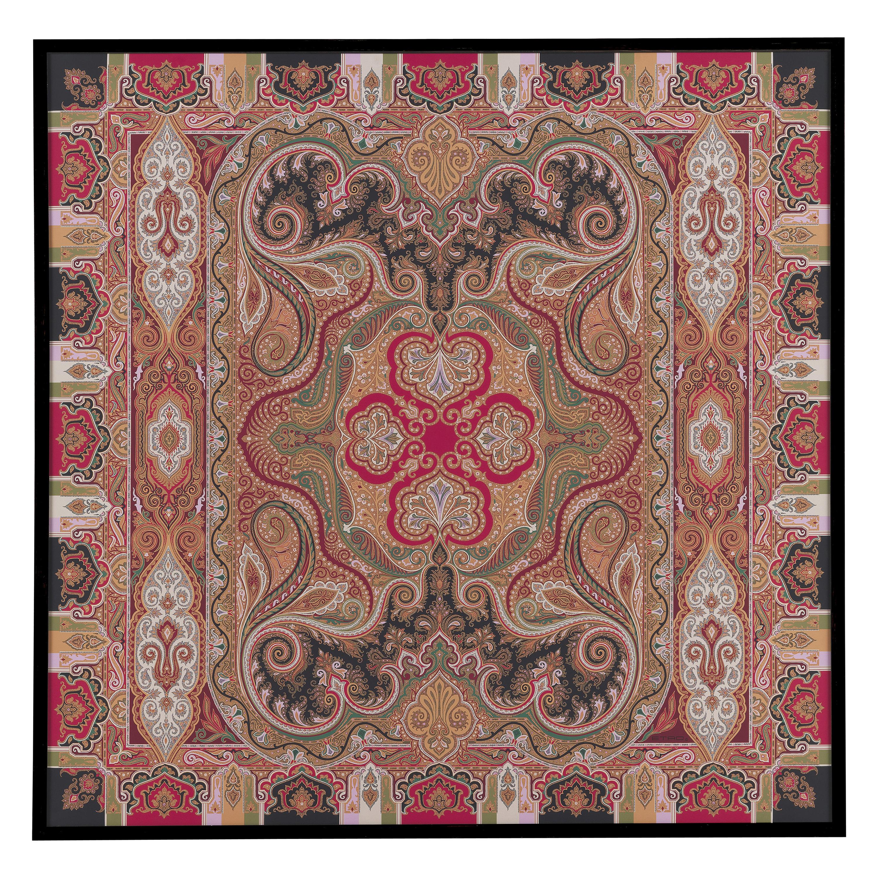 """Etro Home Interiors Shawl """"R"""" Print on Canvas with Frame in Wood"""