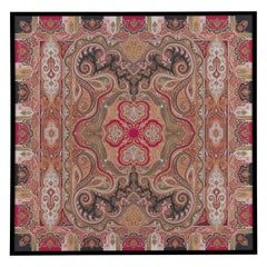 "Etro Home Interiors Shawl ""R"" Print on Canvas with Frame in Wood"