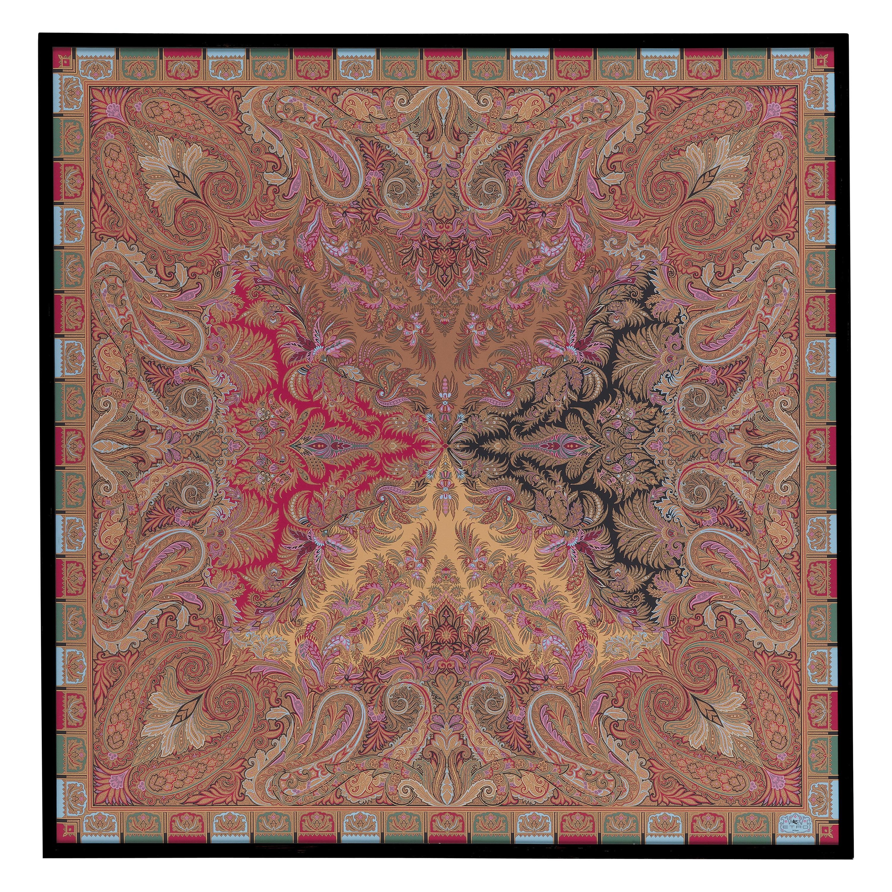 """Etro Home Interiors Shawl """"T"""" Print on Canvas with Frame in Wood"""