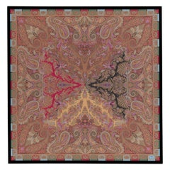"Etro Home Interiors Shawl ""T"" Print on Canvas with Frame in Wood"