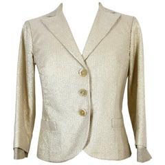 Etro Short Shiny Jacket Beige Gold Pinstripe Insert 3/4 Sleeves 2000s Cotton