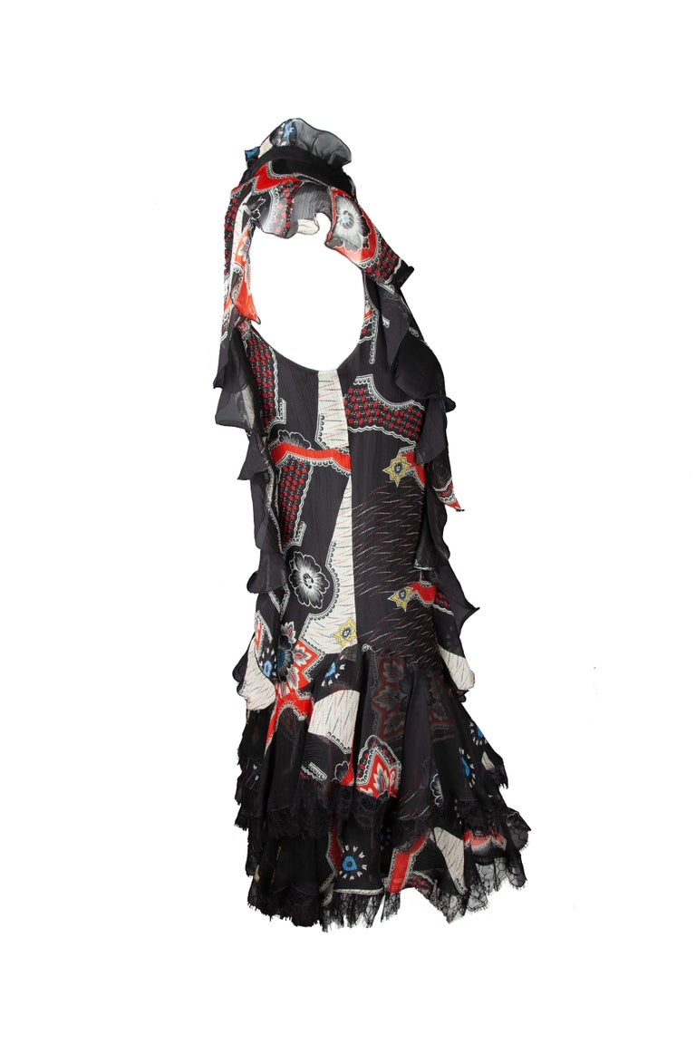 Etro Runway Short Sleeved Black Print Silk Tiered Ruffle Mini Dress Size 40 In New Condition For Sale In Paradise Island, BS