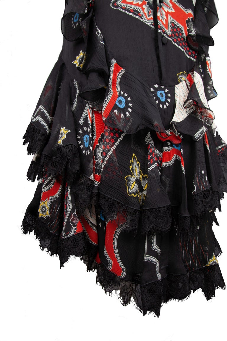 Women's Etro Runway Short Sleeved Black Print Silk Tiered Ruffle Mini Dress Size 40 For Sale