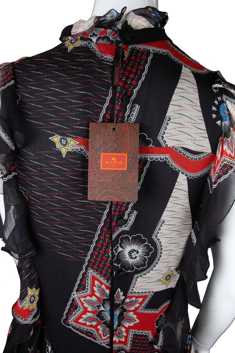 Etro Runway Short Sleeved Black Print Silk Tiered Ruffle Mini Dress Size 40 For Sale 1