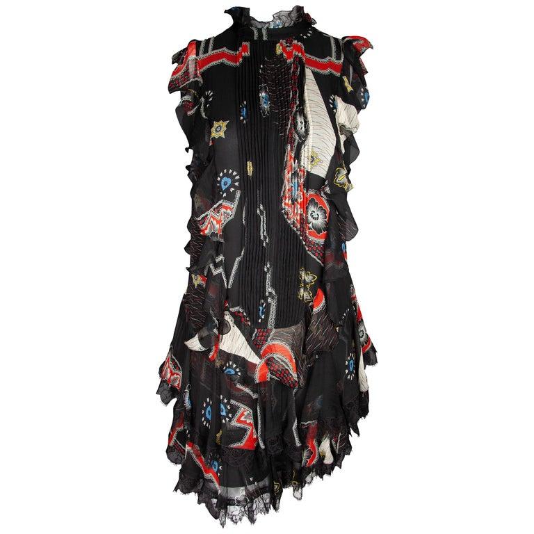 Etro Runway Short Sleeved Black Print Silk Tiered Ruffle Mini Dress Size 40 For Sale