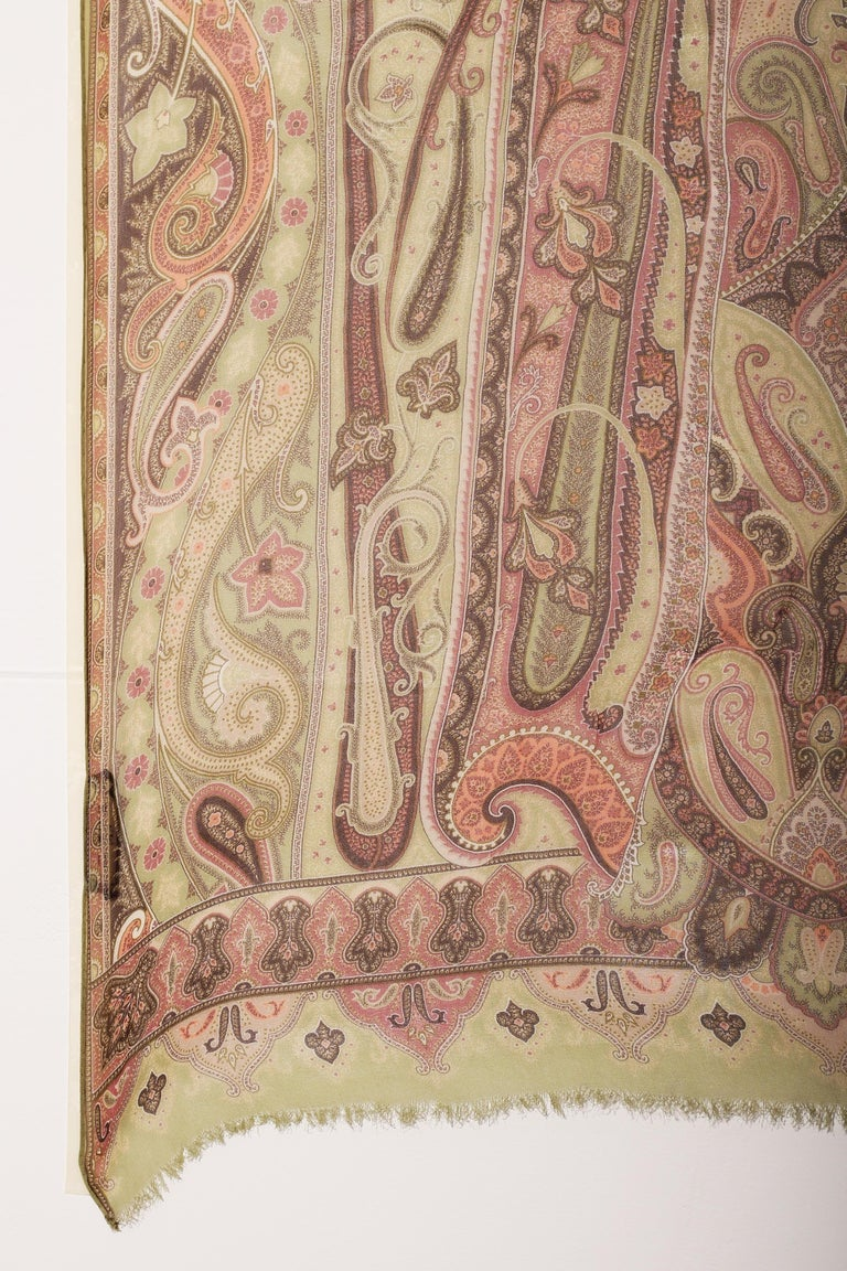 Women's or Men's  Etro Silk chiffon scarf swirling paisley patters in pastel greens For Sale