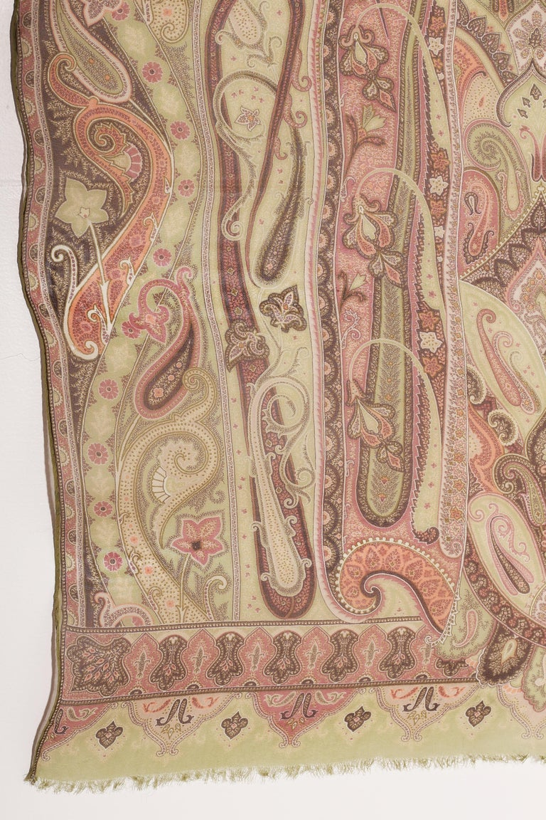 Etro Silk chiffon scarf swirling paisley patters in pastel greens For Sale 2