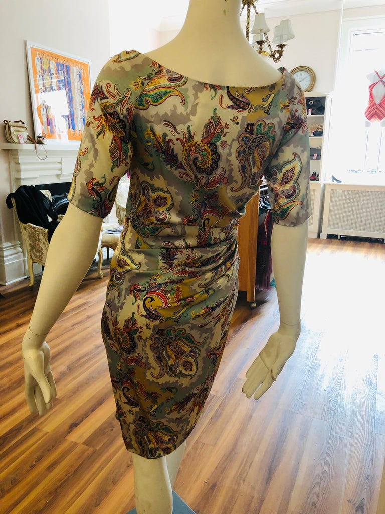 ETRO Silk Draped Paisley Print Dress 44 ITL In Excellent Condition For Sale In Port Hope, ON