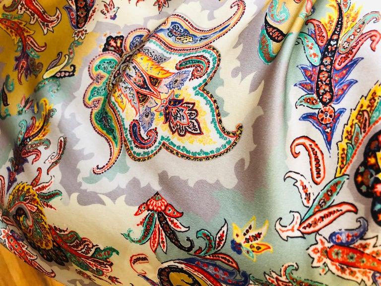 Women's ETRO Silk Draped Paisley Print Dress 44 ITL For Sale