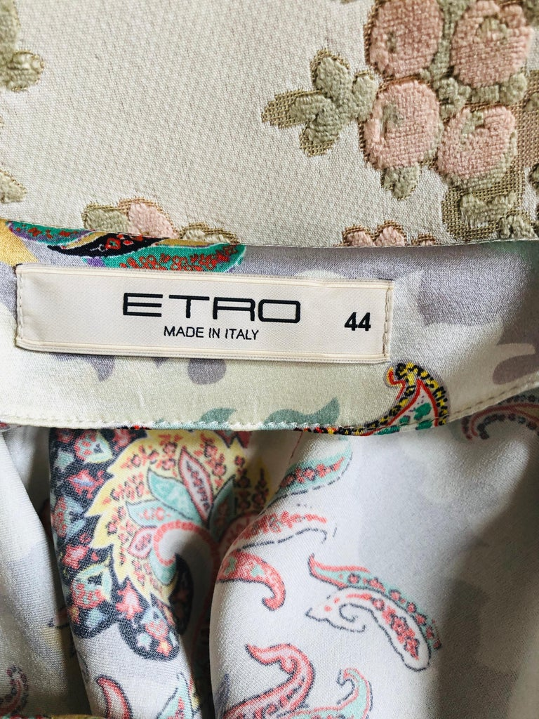 ETRO Silk Draped Paisley Print Dress 44 ITL For Sale 1
