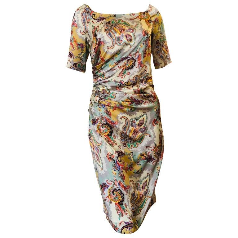 ETRO Silk Draped Paisley Print Dress 44 ITL For Sale