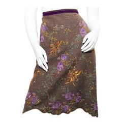 Etro Silk velvet skirt with green skirt linen in swirling paisley patterns