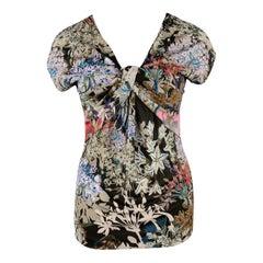 ETRO Size 12 Beige Multi-Color Floral Draped Jersey Blouse