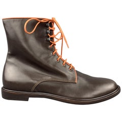 ETRO Size 12 Brown & Orange Leather Lace Up Boots