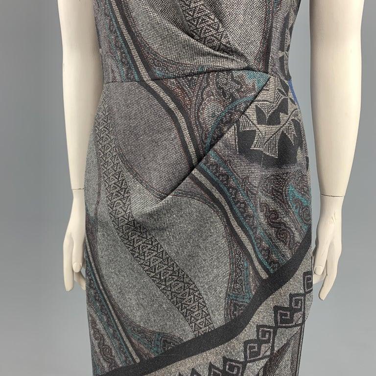 Black ETRO Size 12 Grey Printed Wool Blend Sleeveless Drape Shift Dress For Sale