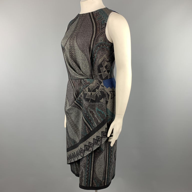 Women's ETRO Size 12 Grey Printed Wool Blend Sleeveless Drape Shift Dress For Sale