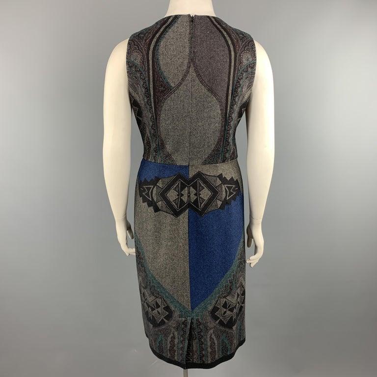 ETRO Size 12 Grey Printed Wool Blend Sleeveless Drape Shift Dress For Sale 1