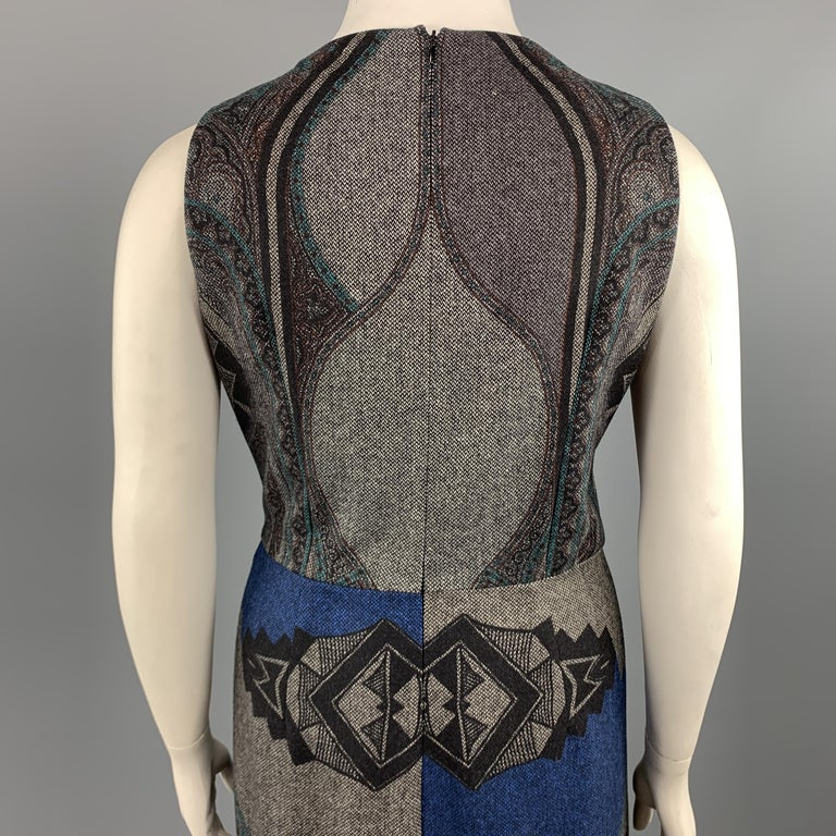 ETRO Size 12 Grey Printed Wool Blend Sleeveless Drape Shift Dress For Sale 2