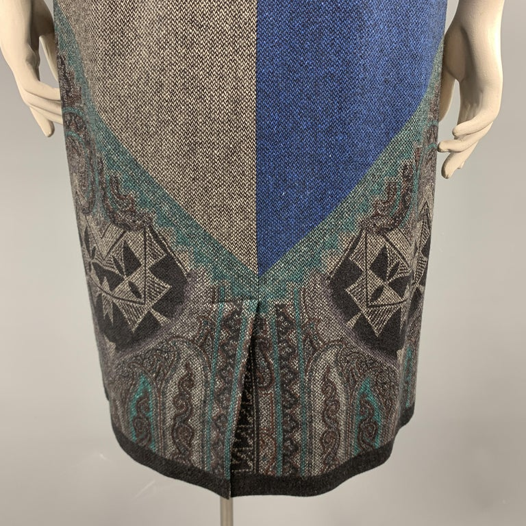 ETRO Size 12 Grey Printed Wool Blend Sleeveless Drape Shift Dress For Sale 3