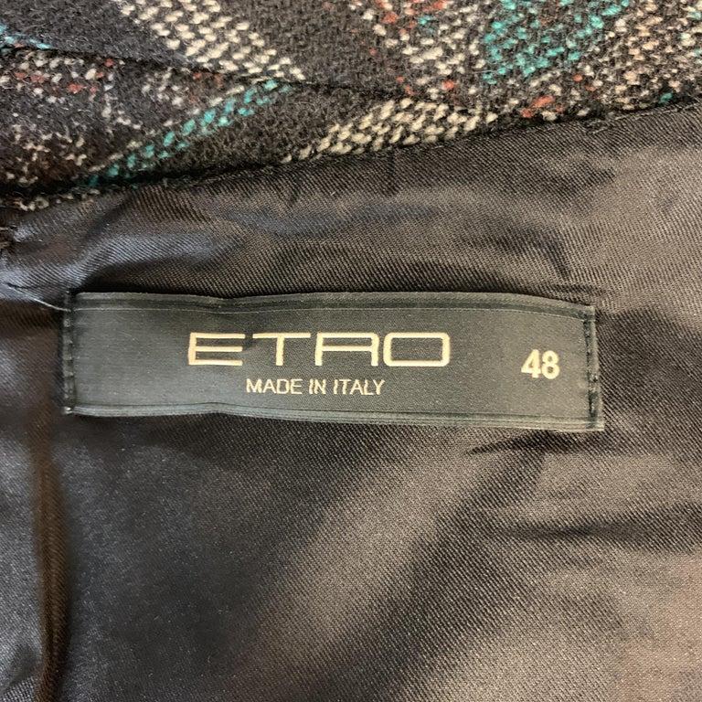 ETRO Size 12 Grey Printed Wool Blend Sleeveless Drape Shift Dress For Sale 4