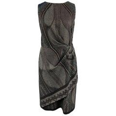 ETRO Size 12 Grey Printed Wool Blend Sleeveless Drape Shift Dress