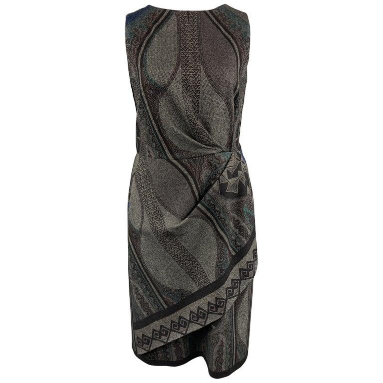 ETRO Size 12 Grey Printed Wool Blend Sleeveless Drape Shift Dress For Sale