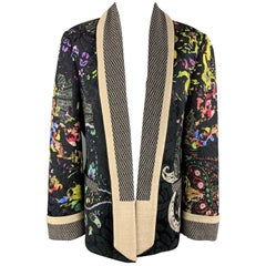 ETRO Size 12 Multi-Color Floral Shaw Collar Jacket