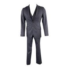 ETRO Size 34 Dark Gray Paisley Wool Notch Lapel 3 Piece Suit