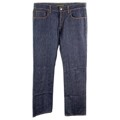 ETRO Size 34 Indigo Contrast Stitch Denim Button Fly Jeans