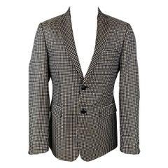 ETRO Size 38 Black & White Polka Dot Silk Notch Lapel Sport Coat